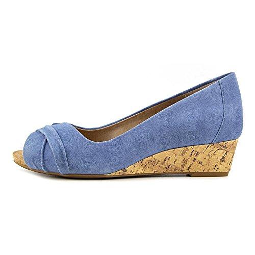 Giani Bernini Kvinna Rivey Läder Peep Toe Kil Pumpar Vintage Jeans