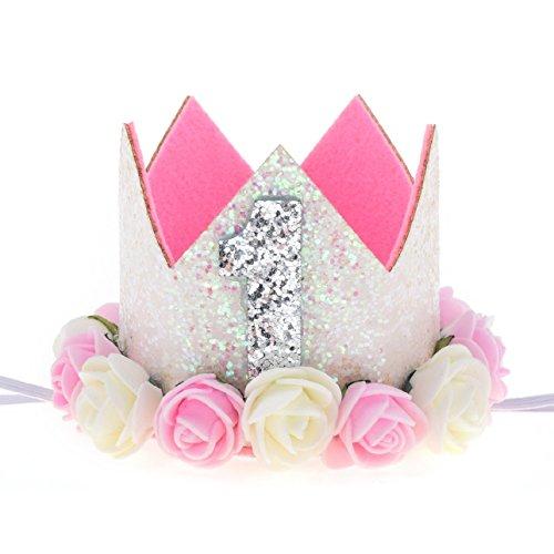 Love Sweety Baby Rose Flower Golden Crown Birthday Headband Hair Accessories (White 1)]()
