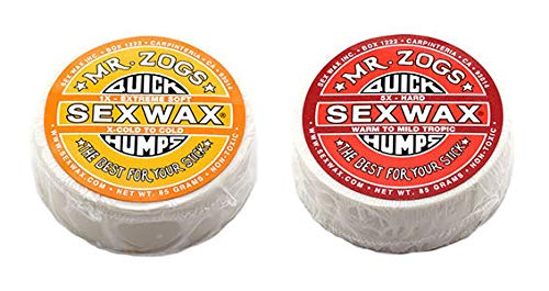 SexWax Quick Humps Mr Zogs Surfboard Wax/Cold Twin Pack - Yellow + Red