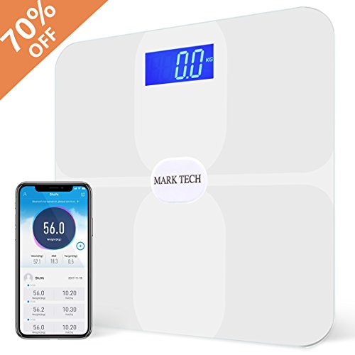 Smart Bluetooth Body Fat Scale, Accurate Measurements Weight, BMI, Body Fat, Muscle Mass, Water, BMR, Bone Mass and Visceral Fat, Work with IOS and Android App - White