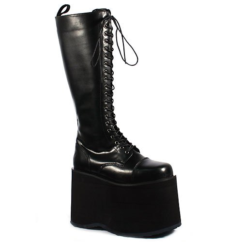 5 3/4 Inch MENS Platform Knee Boot Gothic Punk Lace Up Black PU Size: (Gothic Punk Shoes)