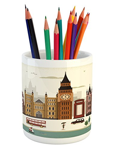 London Pencil Pen Holder by Ambesonne, Attractive Travel Scenery Famous City England Big Ben Telephone Booth Westminster, Printed Ceramic Pencil Pen Holder for Desk Office Accessory, (London Ceramic)