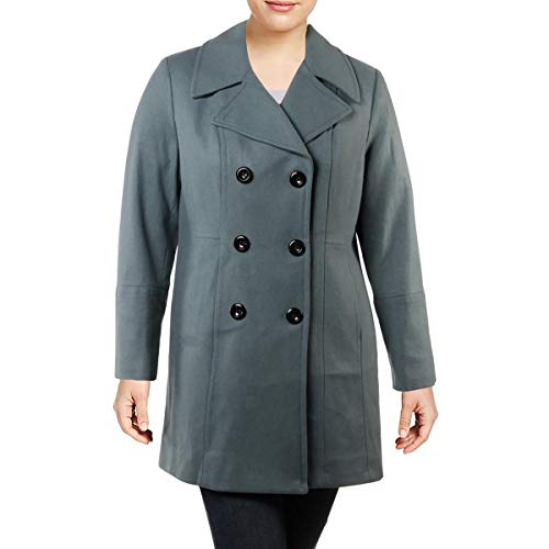 Anne Klein Womens Wool Double-Breasted Pea Coat Blue XL