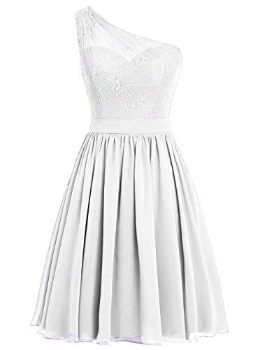 Robes De Mariée Courte Mignonne Robe De Bal D'une Épaule Avec Blanc Appliques
