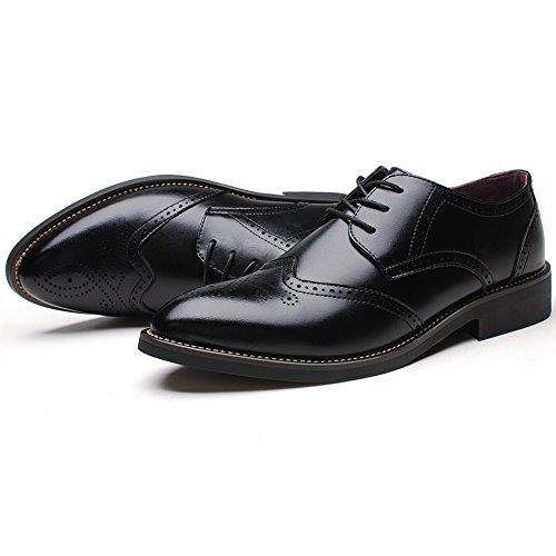 Rismart Homme Mode confortable Travail Espace Cuir Fendu Oxfords Chaussures 856 (Noir,EU43)