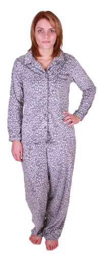 Fleece Print Pajama Set - Aria Collection Women's Sueded Microfleece 2-Piece Pajama Set (Large, Grey Animal Print)