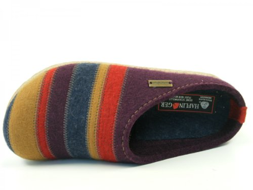 Haflinger Grizzly Violet Stripes Homme Mules Chaussons FUZxFq