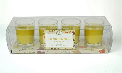 Pear Scented Glass (Candle Gift | Set of 4 Votive Candles In Glass Holders, Scented Votives - 24 Hours Burn Time 1.8