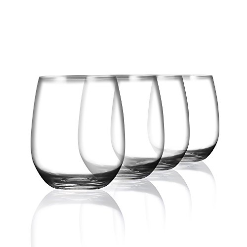 3f7fbf7e671 Acrylic Clear Unbreakable Stemless Wine Glasses 15.5 Ounce, Set of 4 | Shatterproof  Plastic Indoor