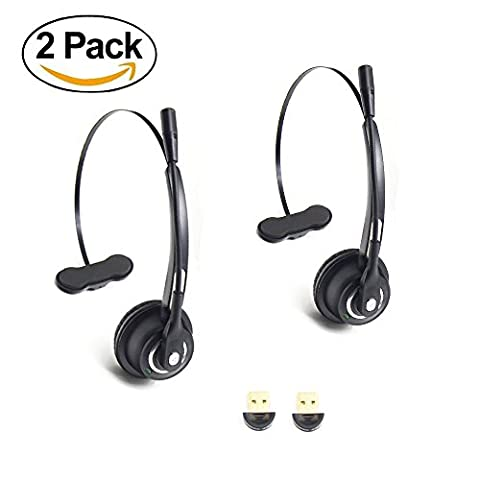 2 Pack Call Center Headset Wireless BizoeRade Bluetooth Headphones for Cell Phone,Noise Canceling,Handsfree Calling ,Listen Music + 2 Bluetooth Receiver for PC Laptop