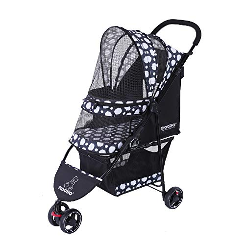 ROODO Escort 3 Wheel Pet Stroller for Cats/Dogs,Lightweight, Compact, Portable, Practical, Removable,Support 40 Pound Animals(Black)