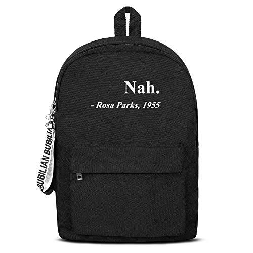 Black History Month Nah. Rosa Parks 1955 Women Men Water Resistant Black Canvas School Backpack Lightweight Backpack