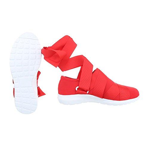 Schuhcity24 Damen Schuhe Freizeitschuhe Sneakers Rot