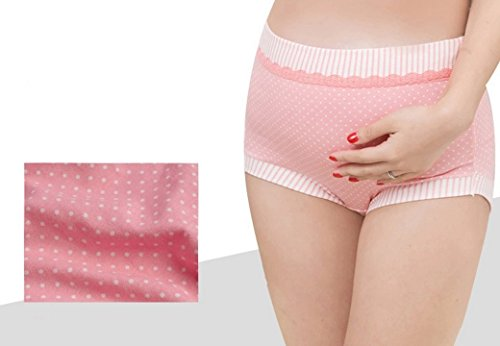 Aivtalk Bragas Calzoncillos de Premamá de Algodón de Embarazo Apoyo del Vientre Lencería Para Mujer Embarazada Color Rosa/Caqui/Azul Marilo Talla Asiática M/L/XL a Elegir Rosa