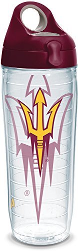 Tervis 1289754 Arizona State Sun Devils Tumbler with Wrap and Maroon Lid, 24oz Water Bottle, Clear