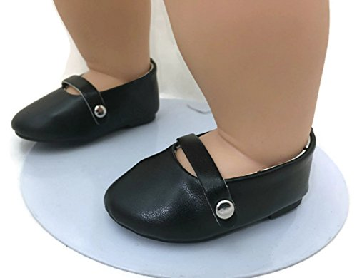 (15 inch Doll Shoes-Black Flats Dress Shoes-Fits Bitty Baby & Bitty Twin Dolls)