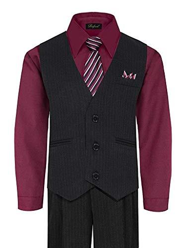 055732d79d6 iGirldress Baby Boys Special Occasion Pinstripe Vest Set Black Burgundy  3-6Mos