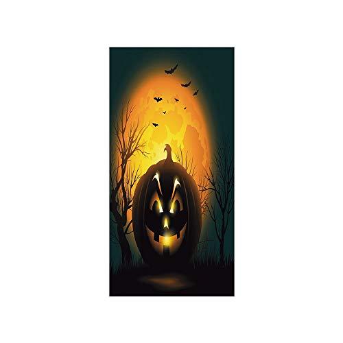 3D Decorative Film Privacy Window Film No Glue,Halloween,Fierce Character Evil Face Ominous Aggressive Pumpkin Full Moon Bats Decorative,Orange Dark Brown Black,for Home&Office]()