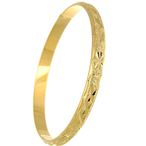 loyoe jewelry 24k Gold Filled Handcarved Star Pattern Bangle Bracelet for Womens Wristband (6mm)