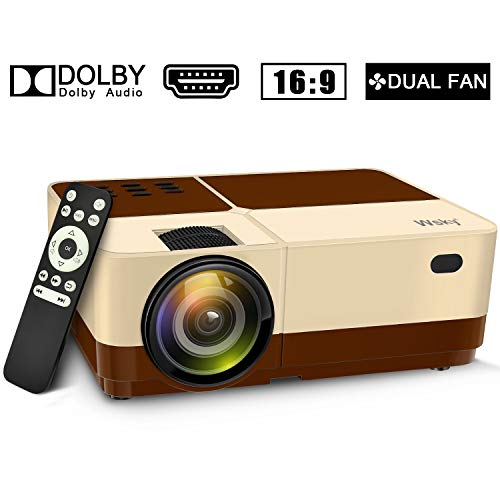 Wsky Video Portable Projector Outdoor Home Theater, LED LCD HD 1080p Supported with Dual Speakers, Compatible DVD, Phone, Laptop, HDMI, TV, PS4, PC(Brown) (The Best Lcd Projector)