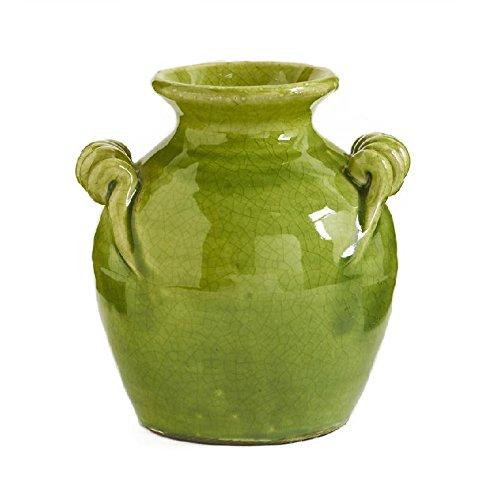 K&K Interiors Green European Ceramic Jar w/2 Handles 2 (Ceramic Vases Green)
