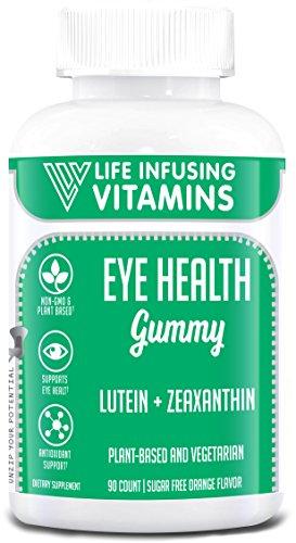 LIV Eye Health Gummy, Lutein + Zeaxanthin, Extra Strength, Plant Based, Vegetarian, Halal, Kosher, Sugar Free Orange Flavor