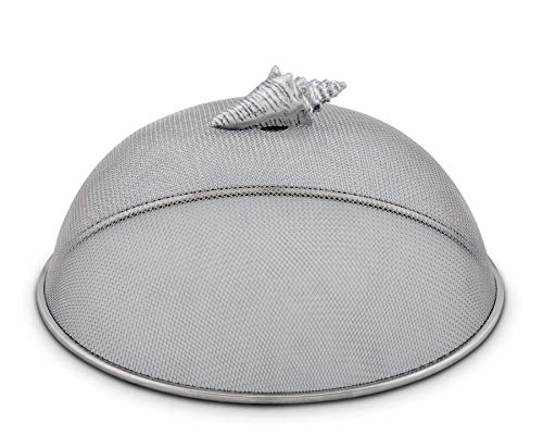 Arthur Court Stainless Steel Mesh Picnic Food Cover Protectors for Bugs, Parties Picnics, BBQs/Cast Aluminum Conch Shell Ocean Knob 5
