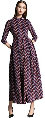 Ababalaya Damen Elegantes Wellenmuster Mock-Ausschnitt Maxi Runway 3/4 Hülsen Abendkleid