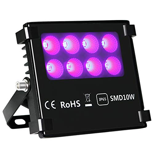 Black Light Flood Lights, KINGBO Blacklights 10W Double Chips Glow in The Dark for Dance Party, Stage Lighting, Aquarium, Body Paint, Fluorescent Poster, Halloween Dance Party]()