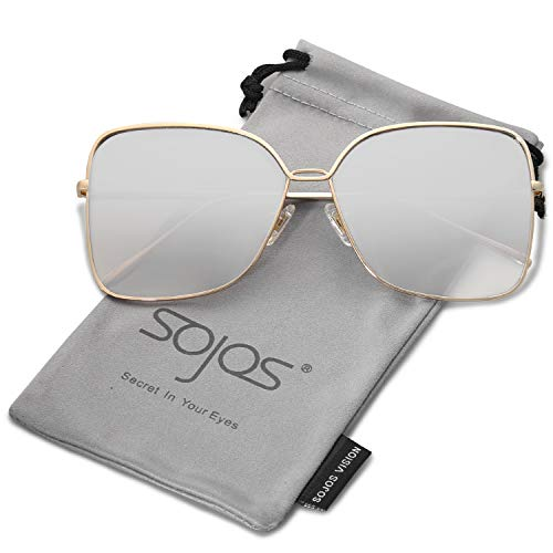 SOJOS Fashion Oversized Square Sunglasses for Women Flat Mirrored Lens SJ1082 with Gold Frame/Gradient Silver Mirrored - Gradient Lens Rose Silver