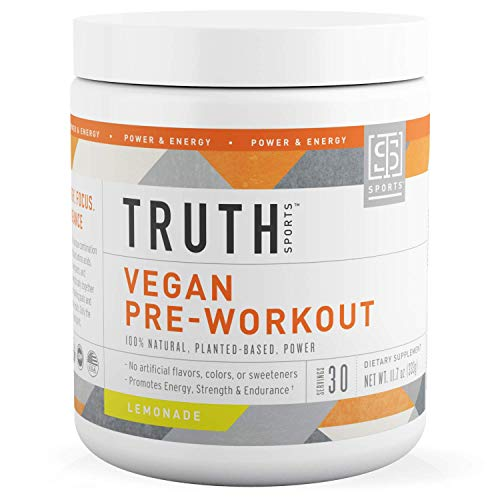 All Natural Vegan Pre Workout Powder- Plant Based, Keto & Vegan Friendly- Energy, Focus & Performance - Men & Women | Boost Muscle Strength & Endurance- Truth Nutrition (Lemonade, 30 Servings)