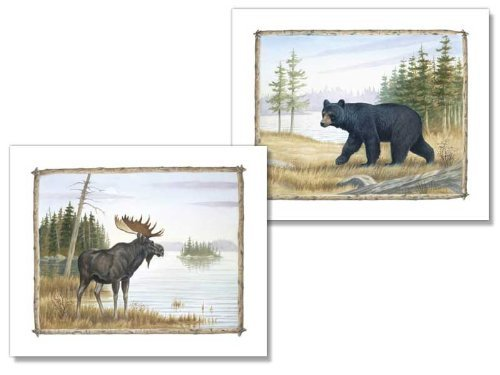 2 Country Art Prints Bear and Moose Picture Home Decor