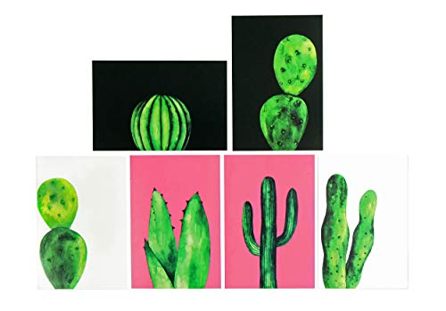 Blank Note Cards with Envelopes, Flat Note Cards, 4x6 Blank Back Note Cards, All Occasion Greeting Cards Assortment, Cute Stationary Set, No Fold Flat Cactus Greeting Cards and Envelopes - 36 Pack