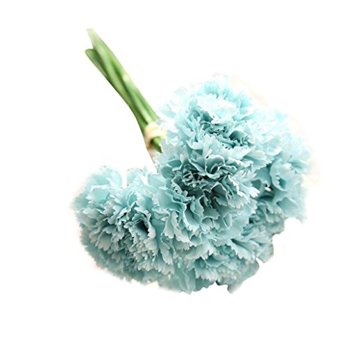 Leewa Fabric+Plastic Artificial Fake Flowers Carnations Home Bridal Bouquet Decor (G)