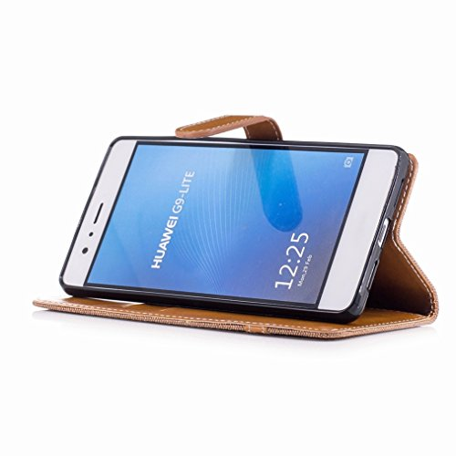 Yiizy Funda Tapa Huawei Honor 6X / GR5 2017, Patrón De Vaquero Diseño Carcasa Tapa Cuero Billetera Piel Flip Cover Solapa Estuches Silicona TPU Case Cáscara Bumper Protector Slim Stand Ranura para Tar