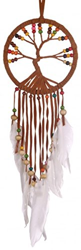 Dream Catcher Tree of Life, 11 cm Diameter, Dreamcatcher in different colors with real feathers (Beige) Woru
