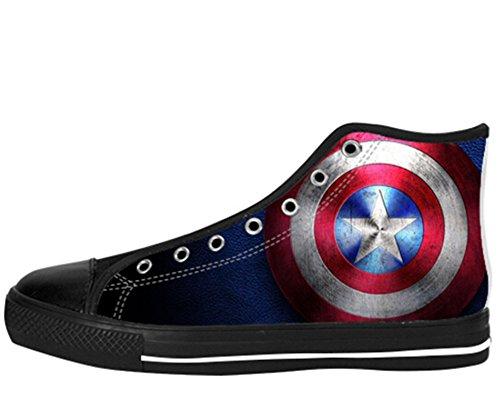 Menns Lerret Høy Topp Sko Captain America Print Kaptein Shoes01