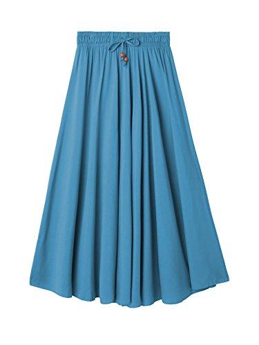 Soyeux Toucher Elgante Femme DEBAIJIA Simple Coton Plage Jupe Chic Et Maison Bleu pour Jupe Maxi Dcontract xwxXfYq