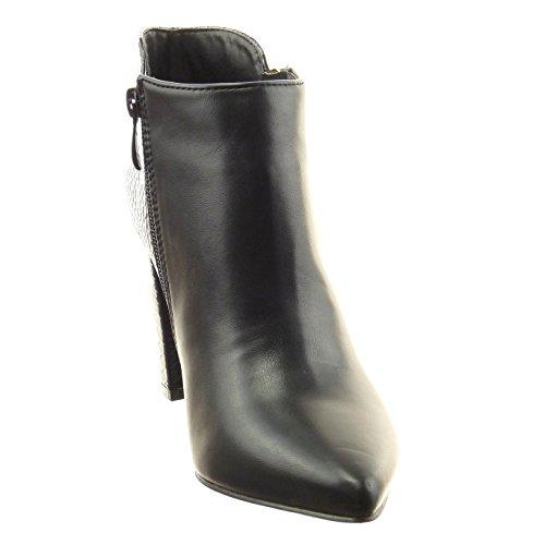 Negro 9 Tacón cm Patentes A Cremallera Sopily Medio Alto Piel Mujer Botines de Ancho Moda Talón Zapatillas Muslo de Bimaterial Serpiente ZqURgZ