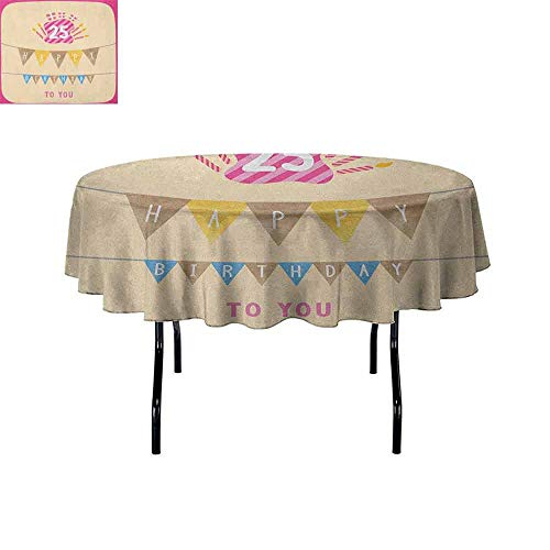 Butterfly Meadow Candlestick - 25th Birthday Leakproof Polyester Tablecloth Pink Framework Cute Flags Letters Burning Candlesticks Gifts Colorful Print Outdoor and Indoor use D59 Inch Multicolor
