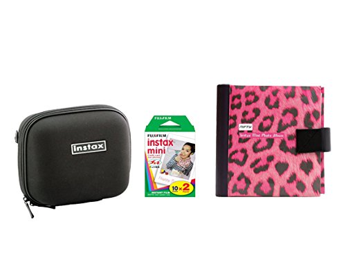 Fujifilm Instax Mini Camera Essentials Kit: Case, Pink Photo Album and Film (20 images) by MPC
