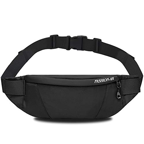 ANRUI Fanny Pack for Men & Women, Crossbody Bag with Headphone Jack & Adjustable Strap Plus Size Waist Bag for Women, Water-Resistant Small Waist Pack for Sports Hiking Running Carrying - Black