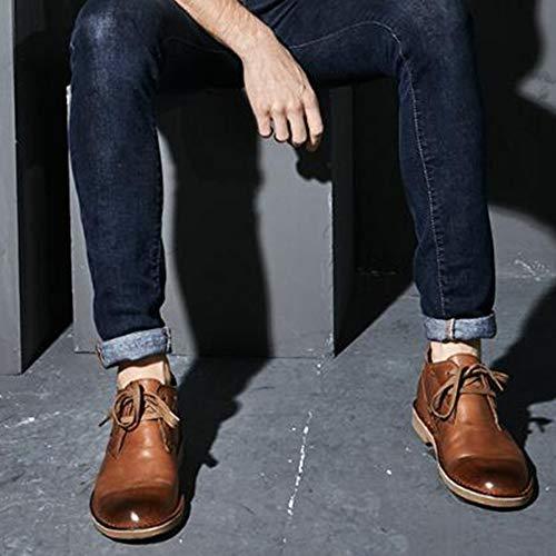 in Uomo Scarpe da Registrazione Retro Up Brown Tooling Boots Lace Desert Pelle f4BwnFOqq