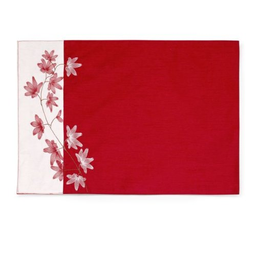 Pure Red Embroidered Placemat, Package of 12 by Mikasa