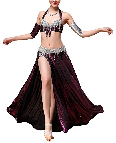 Belly Dance Costumes Professional (MFrannie Womens Egyptian Beaded 3-Piece Professional Belly Dance Costume Set Purple M)