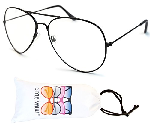 A3045-vp Metal Aviator Clear Lens Eyeglasses (B2289F - Old Glasses Style