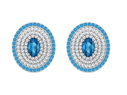 Libertini Boucle d'oreille argent 925 plaque or Jaune serti de Diamant et Topaze