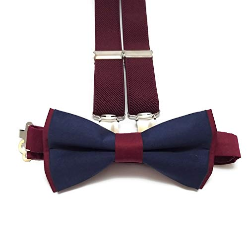 590e563858e Amazon.com  BURGUNDY+NAVY BLUE cotton bow tie and BURGUNDY WINE suspenders  for groomsmen for groom outfit for ring bearers men  Handmade
