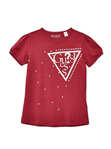 Guess Girls' Big Short Sleeve Embellished Logo T-Shirt, Raspberry Wine, 7 -