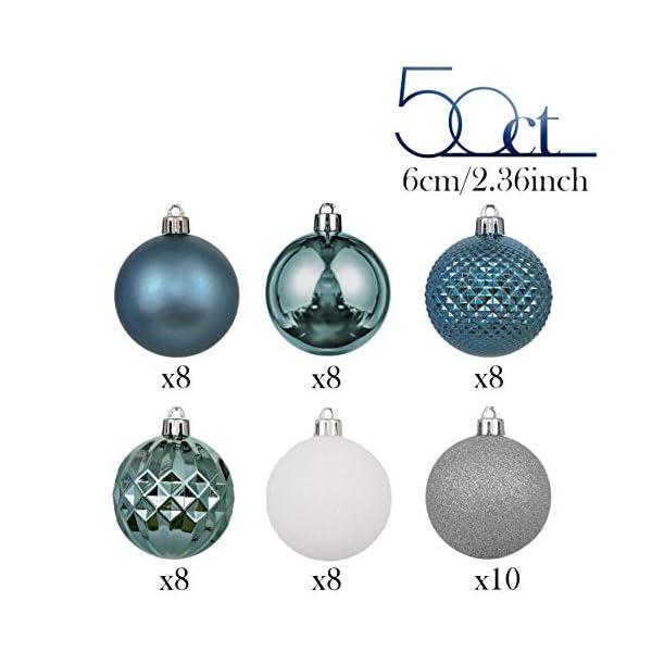 Valery Madelyn Palle di Natale 50 Pezzi 6 cm Palline di Natale, Essenziali Blu e Argento di Base Infrangibile Ornamenti di Palla di Natale Decorazione per la Decorazione Dell'Albero di Natale 3 spesavip